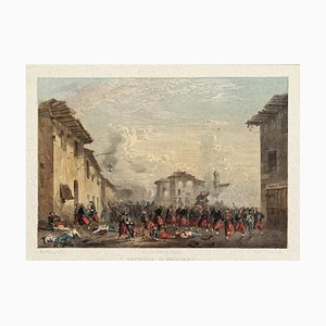 Battle of Melegnano - Original Hand Colored Lithograph by C. Perrin - 1850 ca. 1850 ca.