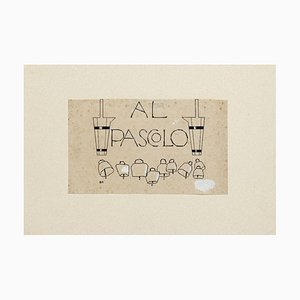 Al Pascolo - Original China Ink by Bruno Angoletta - Early 20th Century 20th Century