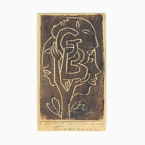 Ex Libris ''GB'' - Original Woodcut by M. Fingesten - Early 1900 Early 1900