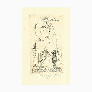 Ex Libris Allegro Melanconico - Original Radierung von M. Fingesten - 1930er Jahre
