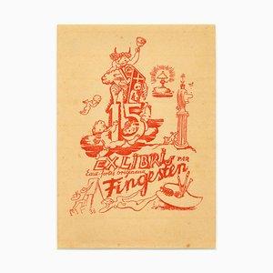 Ex Libris - 15 par Fingensten - Original Woodcut by M. Fingesten - 1938 1938