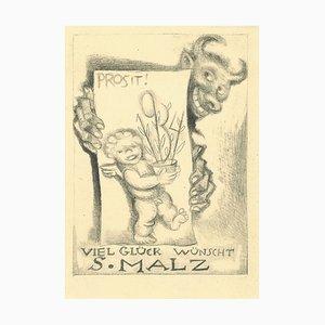 Ex Libris Good Luck - Original Etching by M. Fingesten - 1930s 1930s