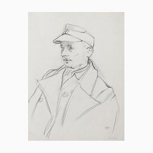 Soldier - Pencil Drawing by J. Hirtz - Mid 20th Century Mid 20th Century