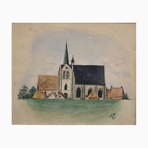 Church - Mixed Media Drawing by F. Bivel -1901 1901