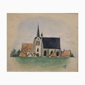 Church - Mixed Media Zeichnung von F. Bivel -1901 1901