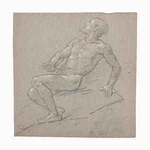 Figur des Menschen - Original Zeichnung in Bleistift und Blei in Weiß - 19. Jahrhundert 19. Jh