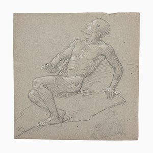 Figure of Man - Original Drawing in Pencil and White Lead - 19th Century 19th Century