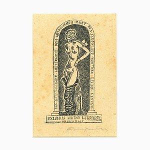 Ex Libris Heinz Lehmann - Original Woodcut by M. Fingesten - Early 1900 Early 1900