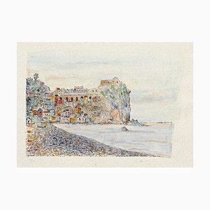 Landscape - Original Etching on Cardboard by Giovanni Omiccioli - 20th Century 20th Century