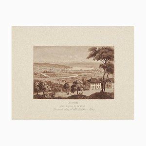 Zurich Landscape - Original Etching on Paper - 19th Century 19th Century