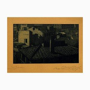 City in Night - Original Etching on Cardboard - 20th Century 20th Century