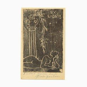 Ex Libris - Woman - Original Woodcut by M. Fingesten - Early 1900 Early 1900