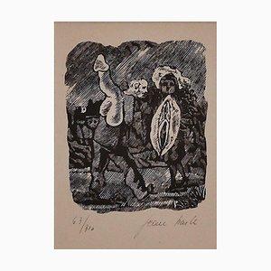 Erotische Szene - Original Holzschnitt von Mino Maccari - 1945 1945