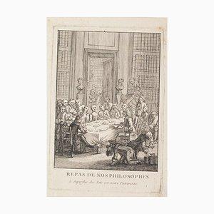 Philosophen Lunch - Original Radierung auf Papier - 17. Jahrhundert