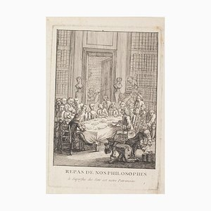 Philosophers' Lunch - Original Etching On Paper - 17th Century 17th century
