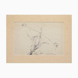Equilibrist - Original Bleistift und Aquarell von Benjamin Mendoza - 1976 1976