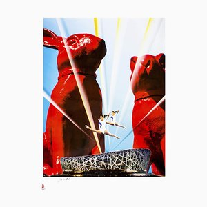 Olympic Stars Between Cloned Rabbits - Original Lithograph by W. Sweetlove -2008 2008
