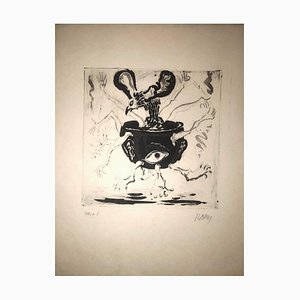 The Human Pot - Original Etching by R. Naly - 1955 1955