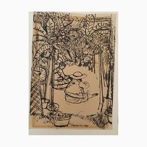 Children in the Garden - China Ink Drawing by Renzo Vespignani - 1949 1949