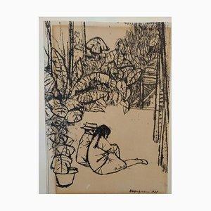 Paar Figuren in der Natur - China Tuschezeichnung von Renzo Vespignani - 1949 1949