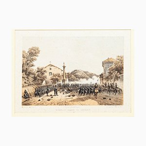 Defense of Varese by Garibaldi - Lithograph by Carlo Perrin - 1860 1860