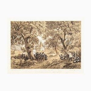 Attacco a San Fermo da Garibaldi - Lithograph by Carlo Perrin - 1860 1860