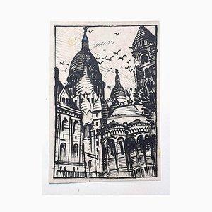 Basilika des Heiligsten Herzens von Paris - Originalzeichnung - ca. 1950 Ca. 1950