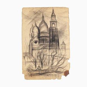 Basilica of the Sacred Heart of Paris - Original Drawing - 20th Century 20th century