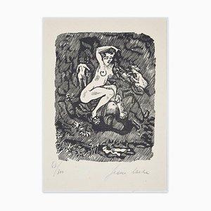 Boudoir - Incisione su linoleum di Jean Barbe / Mino Maccari - 1945, 1945