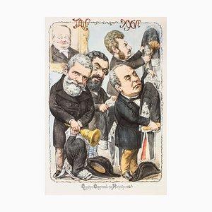 Lithographie Quattro Onorevoli Ex Ministri par A. Maganaro - 1870s 1870s