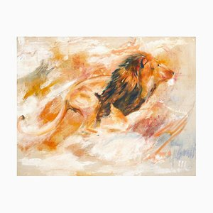 Lion - Original Oil on Canvas by Marij Hendrickx - Early 2000s Early 2000s