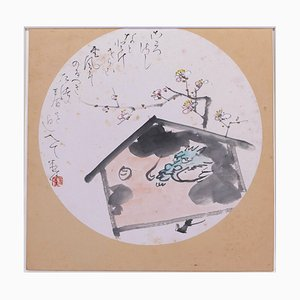 Dragon dans Maison - Dibujo original de tinta china y acuarela de Yonetoshi 20th Century