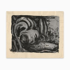 Waves - Original Tempera and China Ink Drawing on Paper - Early 20th Century Early 20th Century