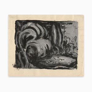 Waves - Original Tempera und China Tuschezeichnung auf Papier - Frühes 20. Jahrhundert Frühes 20. Jahrhundert