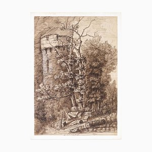 Mal tiempo - Dibujo de tinta china original de P. Roux - Finales del siglo XIX Finales del siglo XIX