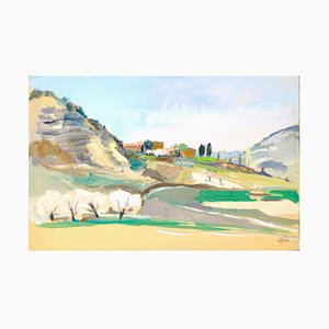The Hill - Oil on Paper by J. Ivane-Millérioux - 1970s 1970s