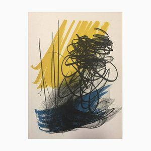 Abstract Composition - Signs on Yellow - Original Lithograph by Hans Hartung 1975