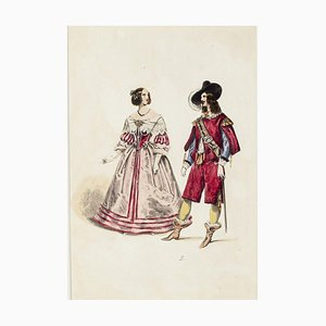 The Lady and the Musketeer - Original Lithograph - End of 19th Century End of the 19th Century