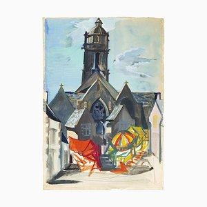 The Market - Original Watercolor Drawing - 1980s 1980s