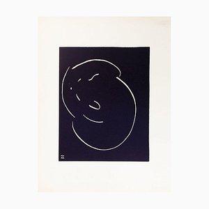 Le Chat - Originale Lithografie von Simone Haret - 1970er 1970er Jahre