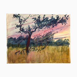 Sunset Landscape - Watercolor on cardboard by French Master - 1917 1917