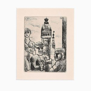 In a Café (Lille) - Original Etching by Marcel Gromaire - 1926 1926