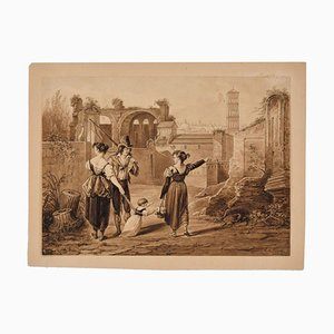 The Walk - Original Etching by Anonymous Artist 19th Century 19th Century