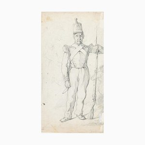 Soldier - Original Pencil Drawing by an Unknown French Artist - 19th Century 19th Century