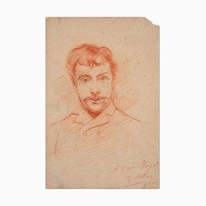 Portrait of a Man - Original Bleistiftzeichnung von GJ Sortis - 1886 1886