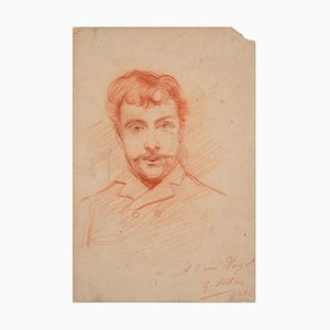 Portrait of a Man - Original Pencil Drawing by G.J. Sortais - 1886 1886