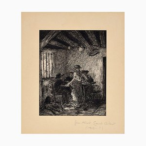 The Inn - Original China Ink on Paper by J.A. Grand-Carteret -First Half of 1900 First Half of 1900