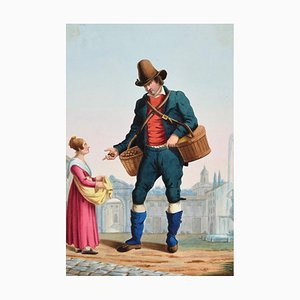 The Peddler - Original Ink and Watercolor by Anonymous Italian Artist - 1800 19th Century