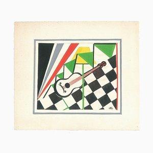 Guitar - Original Tempera on Paper by Esy Beluzzi - Mid 20th Century Mid 20th Century