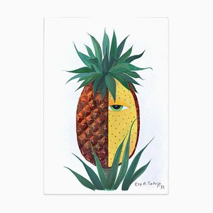 Pineapple - Original Tempera on Paper by Esy Beluzzi - 1977 1977